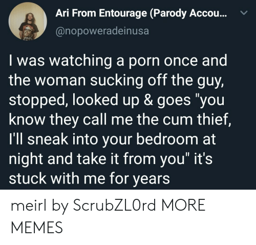 """Cum, Dank, and Memes: Ari From Entourage (Parody Accou...  @nopoweradeinusa  Iwas watching a porn once and  the woman sucking off the guy,  stopped, looked up & goes """"you  know they call me the cum thief,  I'll sneak into your bedroom at  night and take it from you"""" it's  stuck with me for years meirl by ScrubZL0rd MORE MEMES"""