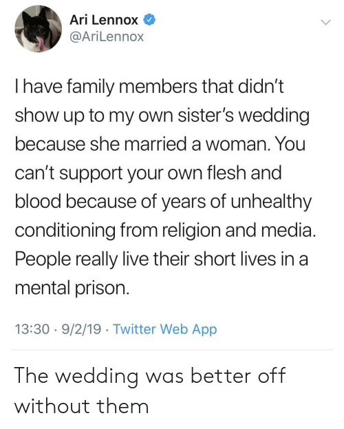Family, Twitter, and Prison: Ari Lennox  @AriLennox  have family members that didn't  show up to my own sister's wedding  because she married a woman. You  can't support your own flesh and  blood because of years of unhealthy  conditioning from religion and media  People really live their short lives in a  mental prison.  13:30 9/2/19 Twitter Web App The wedding was better off without them