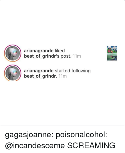 Target, Tumblr, and Best: arianagrande liked  best_of_grindr's post. 11m  arianagrande started following  best_of_grindr. 11m gagasjoanne: poisonalcohol:  @incandesceme  SCREAMING