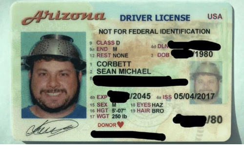 """Sex, Hair, and Michael: ArizoLEL DRIVER LICENSE USA  OviCL DRIVER LICENSE USA  NOT FOR FEDERAL IDENTIFICATION  9 CLASS D  9e ENDM  12 REST NONE  1 CORBETT  2 SEAN MICHAEL  4d DL  3 DOB  1980  4b EXP  15 SEX  16 HGT 5-07"""" 19 HAIR BRO  17 WGT 250 lb  /2045 4a ISs 05/04/2017  18 EYES HAZ  180  DONOR"""