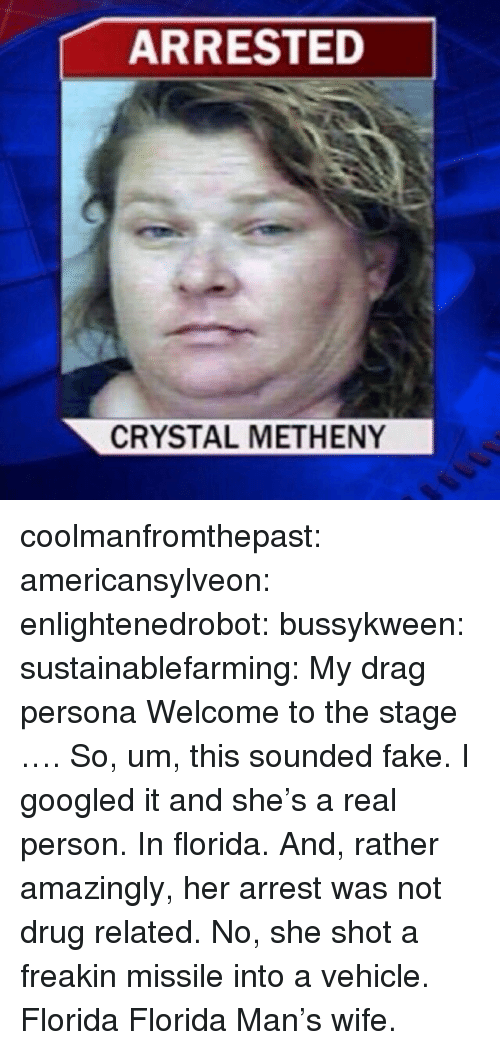 Freakin: ARRESTED  CRYSTAL METHENY coolmanfromthepast: americansylveon:   enlightenedrobot:  bussykween:  sustainablefarming: My drag persona Welcome to the stage ….  So, um, this sounded fake. I googled it and she's a real person. In florida. And, rather amazingly, her arrest was not drug related. No, she shot a freakin missile into a vehicle.   Florida   Florida Man's wife.