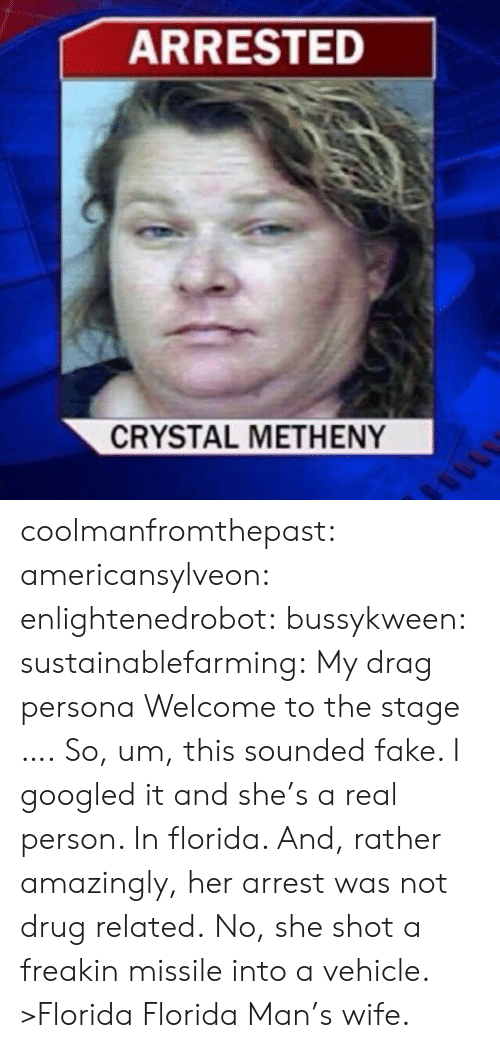Fake, Florida Man, and Tumblr: ARRESTED  CRYSTAL METHENY coolmanfromthepast: americansylveon:   enlightenedrobot:  bussykween:  sustainablefarming: My drag persona Welcome to the stage ….  So, um, this sounded fake. I googled it and she's a real person. In florida. And, rather amazingly, her arrest was not drug related. No, she shot a freakin missile into a vehicle.   >Florida   Florida Man's wife.
