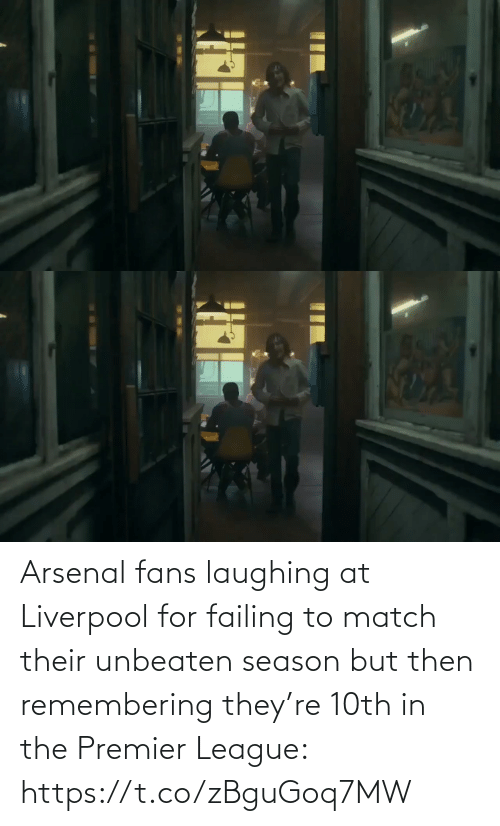 Match: Arsenal fans laughing at Liverpool for failing to match their unbeaten season but then remembering they're 10th in the Premier League: https://t.co/zBguGoq7MW