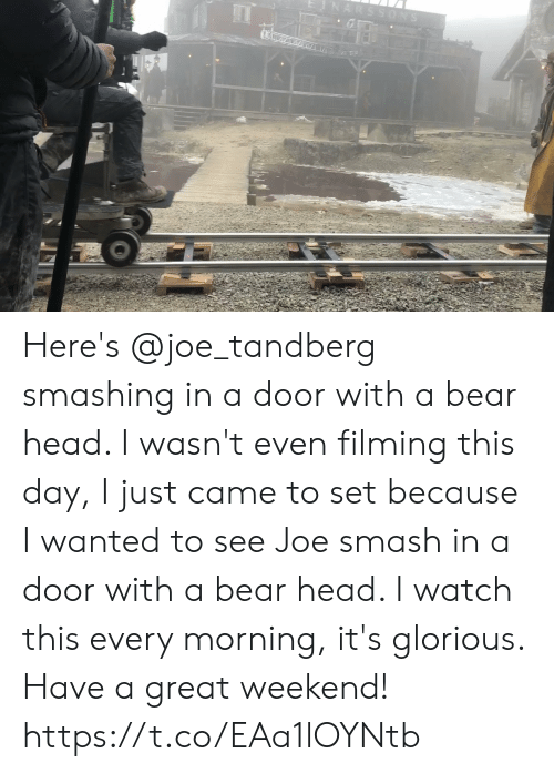 Great Weekend: ARSSONS Here's @joe_tandberg smashing in a door with a bear head. I wasn't even filming this day, I just came to set because I wanted to see Joe smash in a door with a bear head. I watch this every morning, it's glorious. Have a great weekend! https://t.co/EAa1lOYNtb