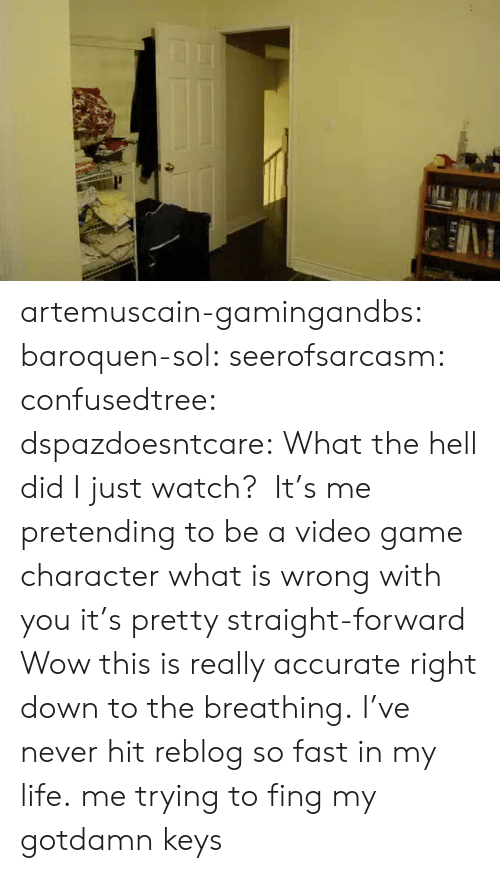 Life, Tumblr, and Wow: artemuscain-gamingandbs:  baroquen-sol:  seerofsarcasm:  confusedtree:  dspazdoesntcare:  What the hell did Ijustwatch?  It's me pretending to be a video game character what is wrong with you it's pretty straight-forward  Wow this is really accurate right down to the breathing.  I've never hit reblog so fast in my life.  me trying to fing my gotdamn keys