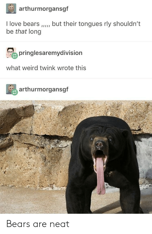 Love, Weird, and Bears: arthurmorgansgf  I love bears,but their tongues rly shouldn't  be that long  o pringlesaremydivision  what weird twink wrote this  arthurmorgansgf Bears are neat