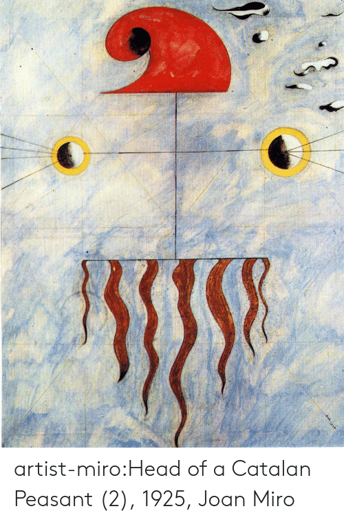 Head, Tumblr, and Blog: artist-miro:Head of a Catalan Peasant (2), 1925, Joan Miro