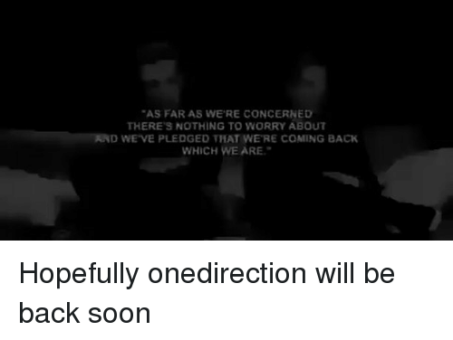 "Memes, Soon..., and Back: ""AS FAR AS WERE CONCERNED  THERE'S NOTHING TO WORRY ABOUT  ND WE VE PLEDGED THAT WERE COMING BACK  WHICH WE ARE. Hopefully onedirection will be back soon"