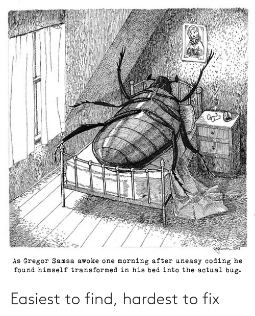 Hardest: As Gregor Samsa awoke one morning after uneasy coding he  found himself transformed in his bed into the actual bug. Easiest to find, hardest to fix