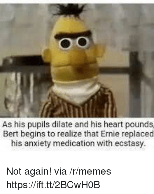 Memes, Anxiety, and Heart: As his pupils dilate and his heart pounds  Bert begins to realize that Ernie replacecd  his anxiety medication with ecstasy Not again! via /r/memes https://ift.tt/2BCwH0B