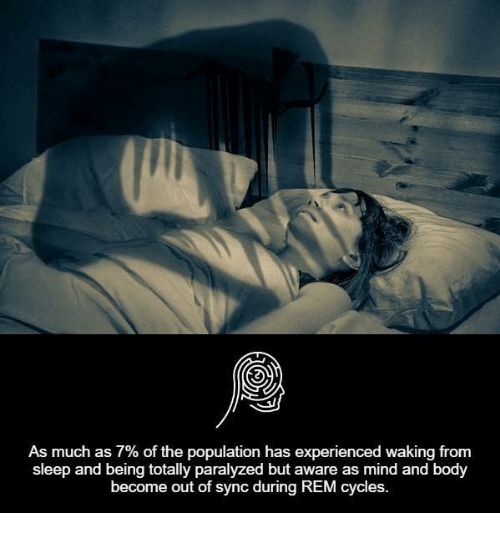 Memes, Cycling, and 🤖: As much as 7% of the population has experienced waking from  sleep and being totally paralyzed but aware as mind and body  become out of sync during REM cycles