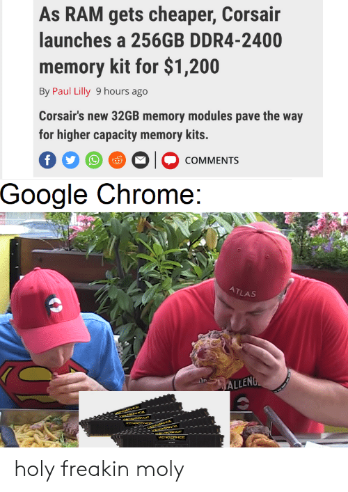 Chrome, Google, and Dank Memes: As RAM gets cheaper, Corsair  launches a 256GB DDR4-2400  memory kit for $1,200  By Paul Lilly 9 hours ago  Corsair's new 32GB memory modules pave the way  for higher capacity memory kits.  f  COMMENTS  -Google Chrome:  ATLAS  ALLENG  wHcBtHIE  ctraria ce  arsricnEWC  VAHER  VENCOONCE holy freakin moly