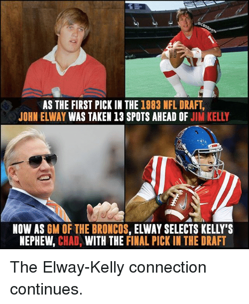 Chads: AS THE FIRST PICK IN THE 1983 NFL DRAFT  JOHN ELWAY WAS TAKEN 13 SPOTS AHEAD OF  JIM KELLY  NOW AS  GM OF THE BRONCOS  ELWAY SELECTS KELLY'S  NEPHEW  CHAD  WITH THE FINAL PICK IN THE DRAFT The Elway-Kelly connection continues.