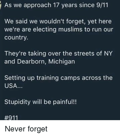 9/11, Memes, and Run: As we approach 17 years since 9/11  We said we wouldn't forget, yet here  we're are electing muslims to run our  country.  They're taking over the streets of NY  and Dearborn, Michigan  Setting up training camps across the  USA.  Stupidity will be painful!!  Never forget