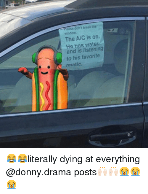 Funny, Music, and Wat: ase don't break the  window  The A/C is on.  He has wat  and is listening  to his favorite  music 😂😂literally dying at everything @donny.drama posts🙌🏻🙌🏻😭😭😭