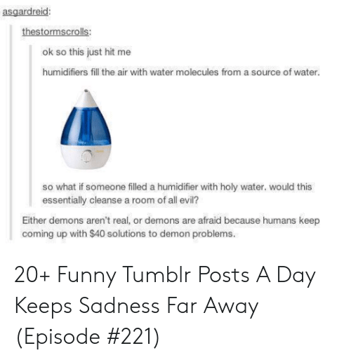 Funny, Tumblr, and Water: asgardreid:  thestormscrolls:  ok so this just hit me  humidifiers fill the air with water molecules from a source of water.  so what if someone filled a humidifier with holy water. would this  essentially cleanse a room of all evil?  Either demons aren't real, or demons are afraid because humans keep  coming up with $40 solutions to demon problems. 20+ Funny Tumblr Posts A Day Keeps Sadness Far Away (Episode #221)