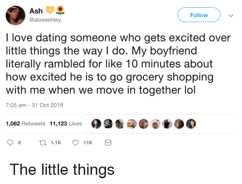 Ash, Dating, and Lol: Ash  @aloeashley  Follow  I love dating someone who gets excited over  little things the way I do. My boyfriend  literally rambled for like 10 minutes about  how excited he is to go grocery shopping  with me when we move in together lol  7:05 am -31 Oct 2018  1,082 Retweets 11,123 Likes The little things