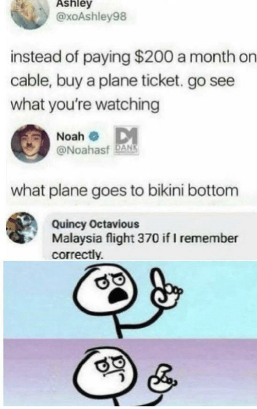 Ticket: Ashley  @xoAshley98  instead of paying $200 a month on  cable, buy a plane ticket. go see  what you're watching  Noah o DM  @Noahasf DANS  what plane goes to bikini bottom  Quincy Octavious  Malaysia flight 370 if I remember  correctly.