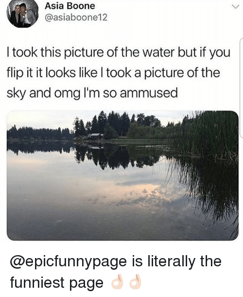 Memes, Omg, and Water: Asia Boone  @asiaboone12  I took this picture of the water but if you  flip it it looks like l took a picture of the  sky and omg I'm so ammused @epicfunnypage is literally the funniest page 👌🏻👌🏻