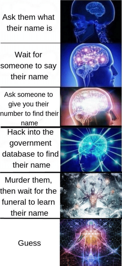 database: Ask them what  their name is  Wait for  someone to say  their name  Ask someone to  give you their  number to find their  name  Hack into the  government  database to find  their name  Murder them  then wait for the  funeral to learn  their name  Guess