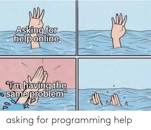 "Having: Asking for  help online  ""Um having the  same probl  em""  D0. asking for programming help"