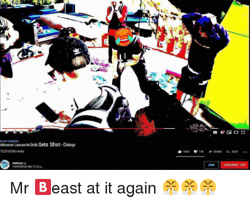 Ass, Challenge, and Dec: Ass  16:182438  #7 ON TRENDING  Whoever Leaves the Circle Gets Shot -Challenge  13,210,830 views  754 5KSHARESAVE  MrBeast  Published on Dec 12,20)s  JOIN  SUBSORIBE 12M