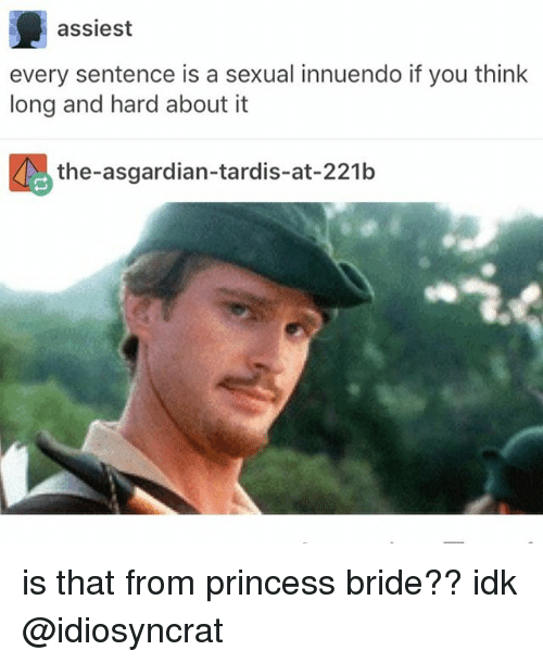 princess bride: assiest  every sentence is a sexual innuendo if you think  long and hard about it  the-asgardian-tardis-at-221b is that from princess bride?? idk @idiosyncrat