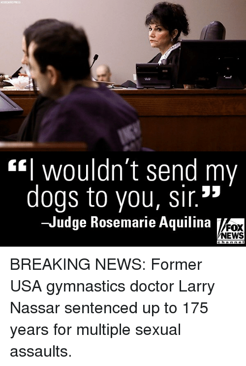 "Doctor, Dogs, and Memes: ASSOCIATED  wouldn t send my  dogs to you, sir.""  Judge Rosemarie Aquilina  FOX  NEWS  h a BREAKING NEWS: Former USA gymnastics doctor Larry Nassar sentenced up to 175 years for multiple sexual assaults."
