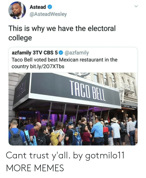 College, Dank, and Memes: Astead  @AsteadWesley  This is why we have the electoral  college  azfamily 3TV CBS 5@azfamily  Taco Bell voted best Mexican restaurant in the  country bit.ly/207XTbs Cant trust y'all. by gotmilo11 MORE MEMES