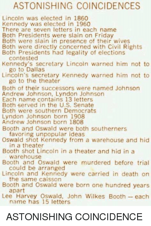 Lee Harvey Oswald: ASTONISHING COINCIDENCES  Lincoln was elected in 1860  Kennedy was elected in 1960  There are seven letters in each name  Both Presidents were slain on Friday  Both were slain in presence of their wives  Both were directly concerned with Civil Rights  Both Presidents had legality of elections  contested  Kennedy's secretary Lincoln warned him not to  go to Dallas  Lincoln's secretary Kennedy warned him not to  go to the theater  Both of their successors were named Johnson  Andrew Johnson, Lyndon Johnson  Each name contains 13 letters  Both served in the U.S. Senate  Both were southern Democrats  Lyndon Johnson born 1908  Andrew Johnson born 1808  Booth and Oswald were both southerners  favoring unpopular ideas  Oswald shot Kennedy from a warehouse and hid  in a theater  Booth shot Lincoln in a theater and hid in a  warehouse  Booth and Oswald were murdered before trial  could be arranged  Lincoln and Kennedy were carried in death on  the same caisson  Booth and Oswald were born one hundred years  apart  Lee Harvey Oswald, John Wilkes Booth each  name has 15 letters ASTONISHING COINCIDENCE
