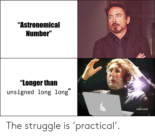 """The Struggle: """"Astronomical  Number""""  """"Longer than  unsigned long long""""  [adult swim The struggle is 'practical'."""