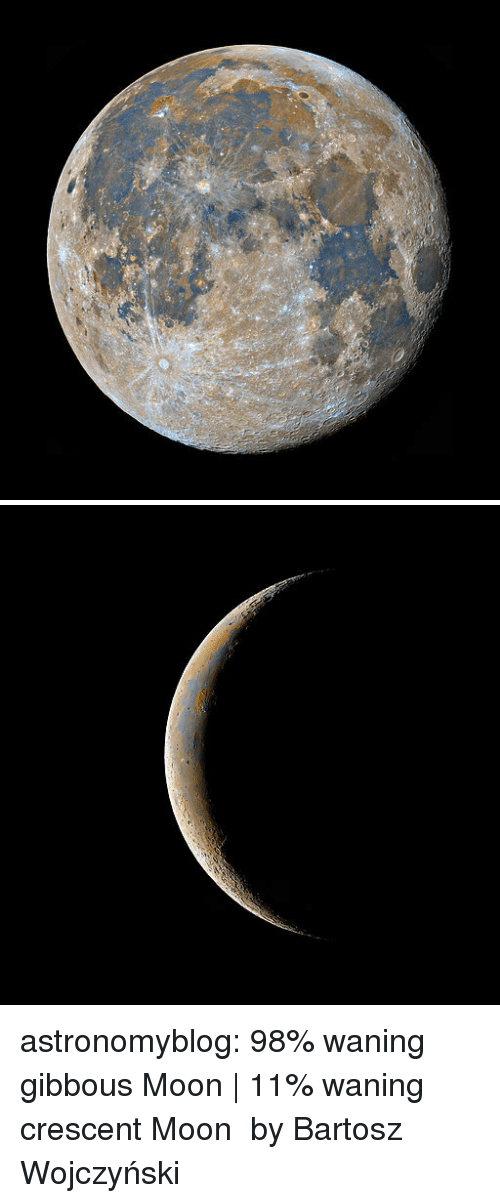 Tumblr, Blog, and Http: astronomyblog:   98% waning gibbous Moon |  11% waning crescent Moon  by Bartosz Wojczyński