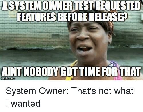 Programmer Humor, Wanted, and System: ASYSTEMOWNERTESTREQUESTED  FEATURES BEFORE RELEASE?  AINT NOBODYGOTTIME FORTHAT