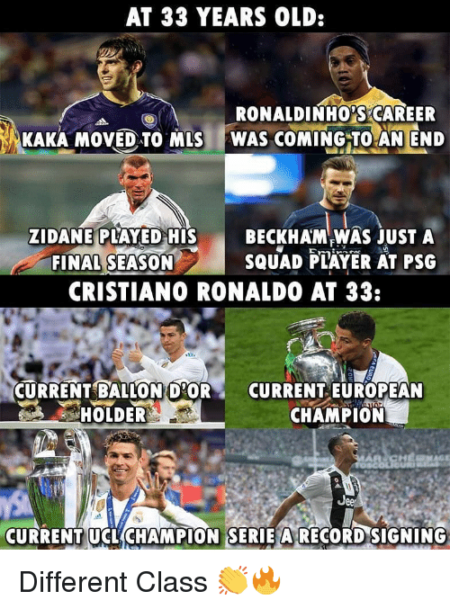 Ballon: AT 33 YEARS OLD:  RONALDINHO,SCAREER  KAKA MOVED TO MLS WAS COMING TO AN END  ZIDANE PLAYED HIS  FINAL SEASON  BECKHAM WAS JUST A  SQUAD FLAYER AT PSG  CRISTIANO RONALDO AT 33:  CURRENT BALLON D'OR  HOLDER  CURRENT EUROPEAN  CHAMPION  Jee  CURRENT UCL(CHAMPION SERİE ARECORDSIGNING Different Class 👏🔥