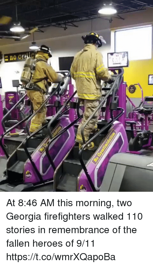 9/11, Andrew Bogut, and Memes: At 8:46 AM this morning, two Georgia firefighters walked 110 stories in remembrance of the fallen heroes of 9/11 https://t.co/wmrXQapoBa