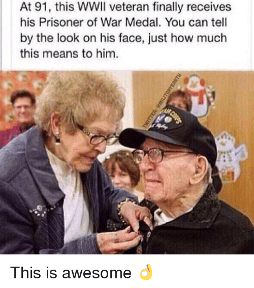 prisoner of war: At 91, this WWII veteran finally receives  his Prisoner of War Medal. You can tell  by the look on his face, just how much  this means to him This is awesome 👌