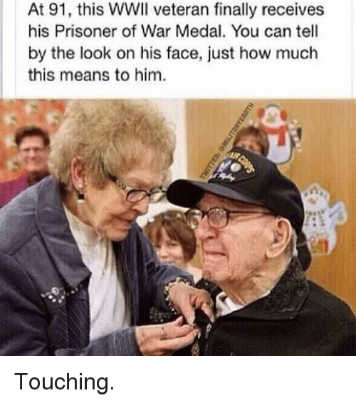 prisoner of war: At 91, this WWII veteran finally receives  his Prisoner of War Medal. You can tell  by the look on his face, just how much  this means to him Touching.