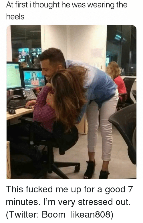 Funny, Twitter, and Good: At first i thought he was wearing the  heels This fucked me up for a good 7 minutes. I'm very stressed out. (Twitter: Boom_likean808)