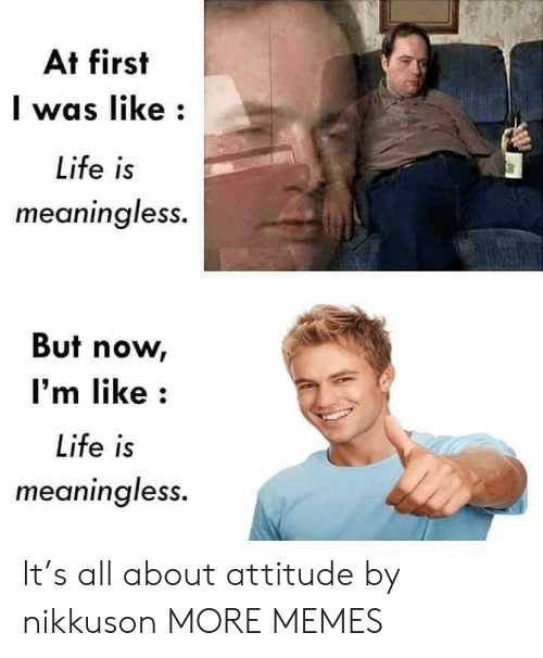 At First: At first  was like  Life is  meaningless.  But now  I'm like  Life is  meaningless. It's all about attitude by nikkuson MORE MEMES