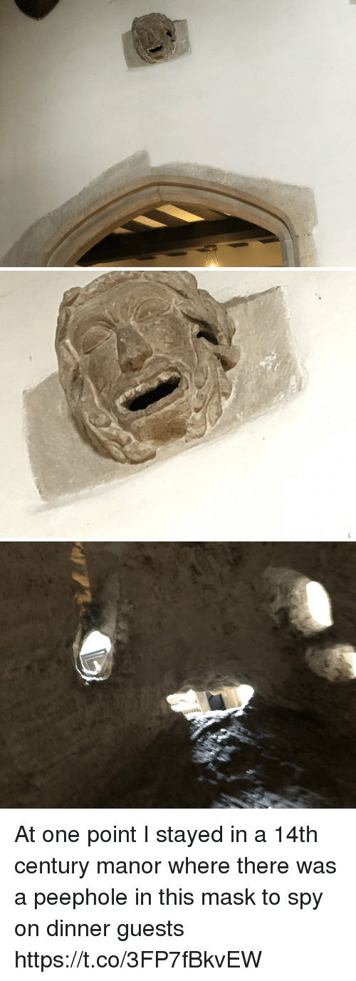 Memes, Mask, and 🤖: At one point I stayed in a 14th century manor where there was a peephole in this mask to spy on dinner guests https://t.co/3FP7fBkvEW
