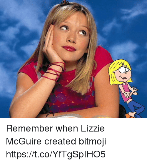 lizzie mcguire: AT Remember when Lizzie McGuire created bitmoji https://t.co/YfTgSpIHO5