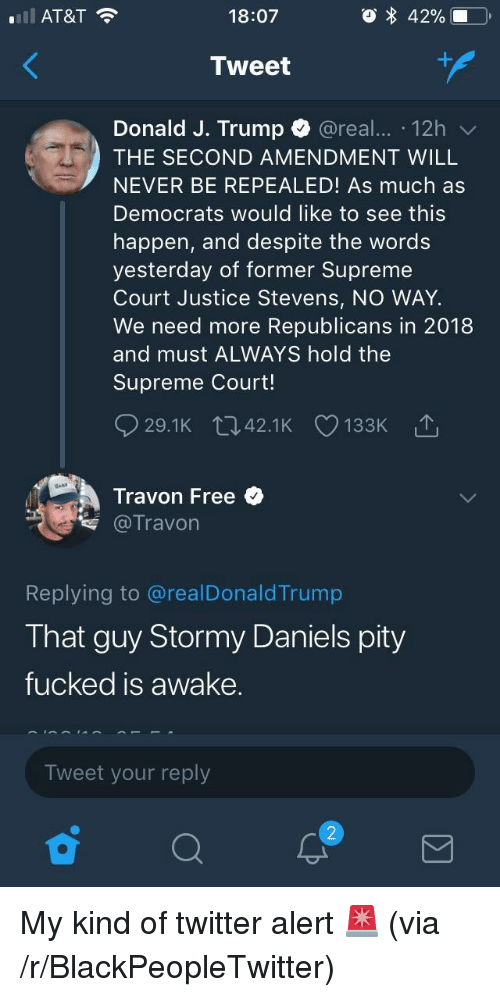 Blackpeopletwitter, Supreme, and Twitter: AT&T  18:07  Tweet  Donald J. Trump @real. 12h  THE SECOND AMENDMENT WILL  NEVER BE REPEALED! As much as  Democrats would like to see this  happen, and despite the words  yesterday of former Supreme  Court Justice Stevens, NO WAY.  We need more Republicans in 2018  and must ALWAYS hold the  Supreme Court!  Travon Free  专@Travon  Replying to @realDonaldTrump  That guy Stormy Daniels pity  fucked is awake.  Tweet your reply  2 <p>My kind of twitter alert 🚨 (via /r/BlackPeopleTwitter)</p>