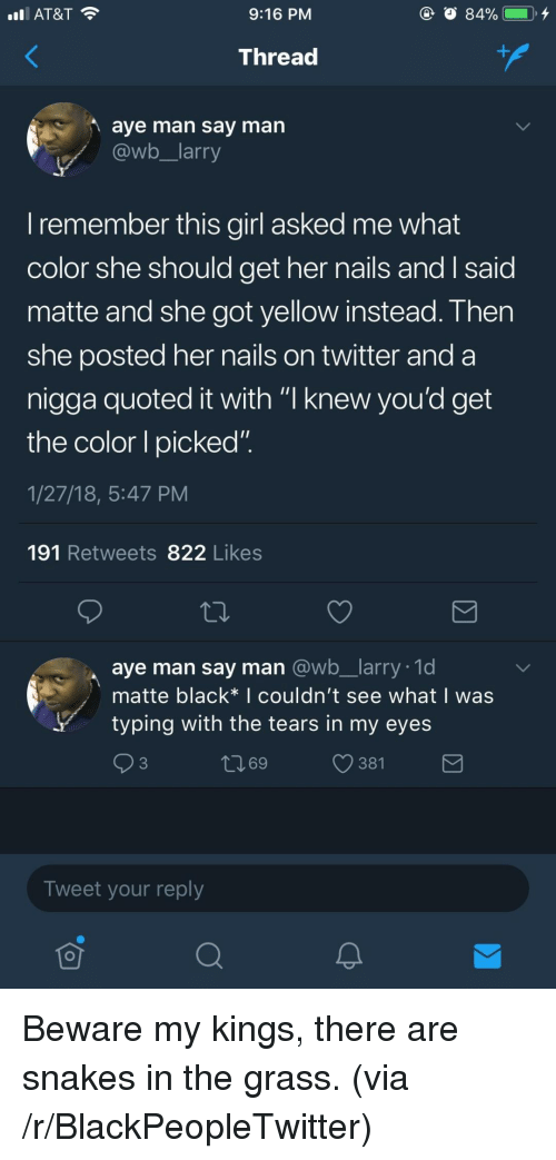"""Blackpeopletwitter, Twitter, and At&t: AT&T  9:16 PM  Thread  aye man say man  @wb larry  I remember this girl asked me what  color she should get her nails andI said  matte and she got yellow instead. Then  she posted her nails on twitter and a  nigga quoted it with """"I knew vou'd get  the color I picked""""  1/27/18, 5:47 PM  191 Retweets 822 Likes  aye man say man @wb_larry. 1d  matte black* I couldn't see what I was  ytyping with the tears in my eyes  ロ69  381  Tweet your reply <p>Beware my kings, there are snakes in the grass. (via /r/BlackPeopleTwitter)</p>"""