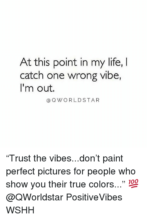 "Life, Memes, and True: At this point in my life, I  catch one wrong vibe,  I'm out.  @QWORLDSTAR ""Trust the vibes...don't paint perfect pictures for people who show you their true colors..."" 💯 @QWorldstar PositiveVibes WSHH"