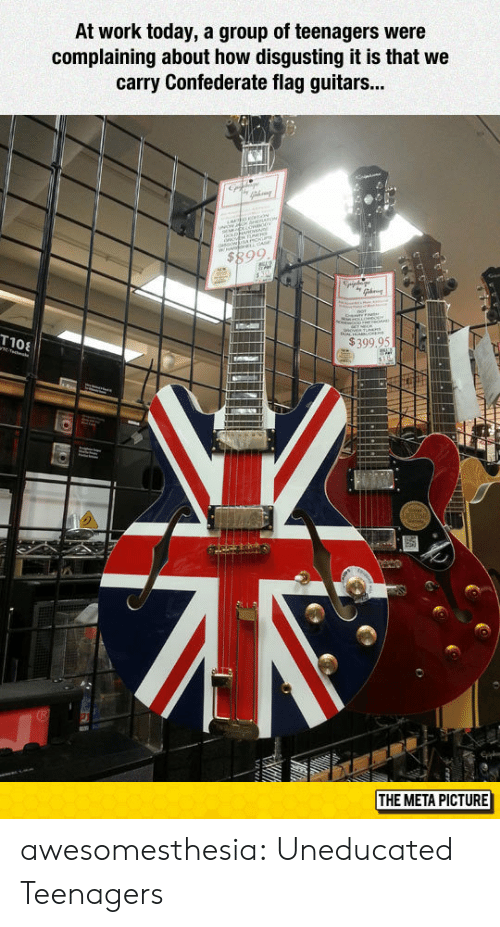 Confederate Flag, Tumblr, and Work: At work today, a group of teenagers were  complaining about how disgusting it is that we  carry Confederate flag guitars...  $399,95N  MI  THE META PICTURE awesomesthesia:  Uneducated Teenagers