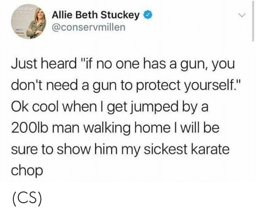 """Memes, Cool, and Home: atable  Allie Beth Stuckey  @conservmillen  Just heard """"if no one has a gun, you  don't need a gun to protect yourself.""""  Ok cool when I get jumped by a  200lb man walking home l will be  sure to show him my sickest karate  chop (CS)"""