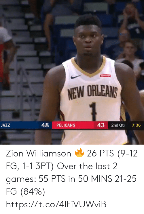 New Orleans: ATARAINS  NEW ORLEANS  48  43  JAZZ  PELICANS  2nd Qtr  7:36 Zion Williamson 🔥 26 PTS (9-12 FG, 1-1 3PT)  Over the last 2 games:  55 PTS in 50 MINS 21-25 FG (84%)   https://t.co/4lFiVUWviB