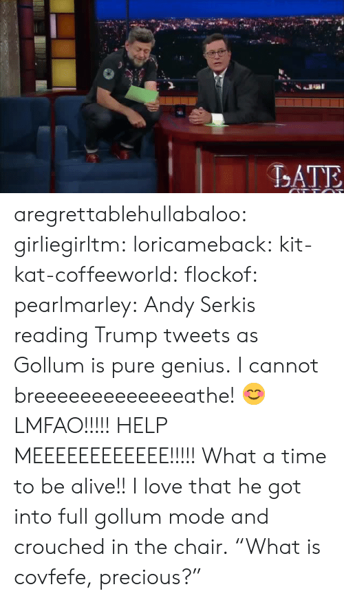 "Alive, Love, and Precious: ATE aregrettablehullabaloo: girliegirltm:  loricameback:   kit-kat-coffeeworld:   flockof:   pearlmarley: Andy Serkis reading Trump tweets as Gollum is pure genius. I cannot breeeeeeeeeeeeeathe!   😊   LMFAO!!!!! HELP MEEEEEEEEEEEE!!!!!   What a time to be alive!! I love that he got into full gollum mode and crouched in the chair.  ""What is covfefe, precious?"""