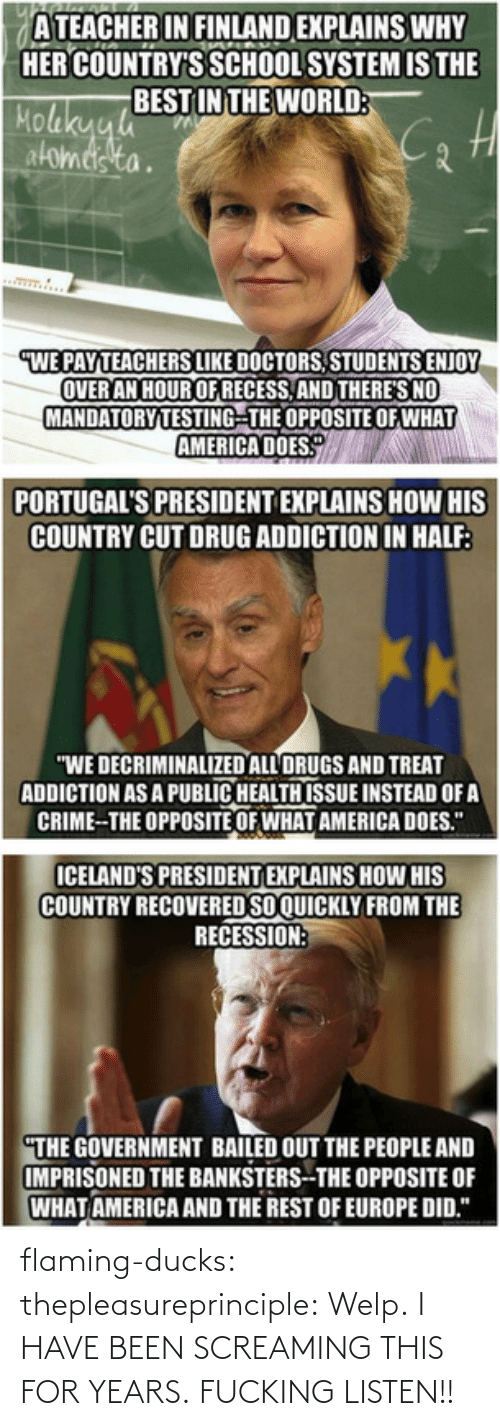 """America, Crime, and Drugs: ATEACHER IN FINLAND EXPLAINS WHY  HER COUNTRY'S SCHOOL SYSTEM IS THE  BEST IN THE WORLD:  Molakyyh  atomeis ta.  mw...  WE PAYTEACHERS LIKE DOCTORS, STUDENTS ENJOY  OVER AN HOUR OF RECESS, AND THERE'S NO  MANDATORY TESTING-THE OPPOSITE OF WHAT  AMERICA DOES.  PORTUGAL'S PRESIDENT EXPLAINS HOW HIS  COUNTRY CUT DRUG ADDICTION IN HALF:  """"WE DECRIMINALIZED ALL DRUGS AND TREAT  ADDICTION AS A PUBLIC HEALTH ISSUE INSTEAD OF A  CRIME-THE OPPOSITE OF WHAT AMERICA DOES.""""  ICELAND'S PRESIDENT EXPLAINS HOW HIS  COUNTRY RECOVERED SO QUICKLY FROM THE  RECESSION:  """"THE GOVERNMENT BAILED OUT THE PEOPLE AND  IMPRISONED THE BANKSTERS--THE OPPOSITE OF  WHAT AMERICA AND THE REST OF EUROPE DID.""""   flaming-ducks:   thepleasureprinciple:   Welp.   I HAVE BEEN SCREAMING THIS FORYEARS.FUCKING LISTEN!!"""