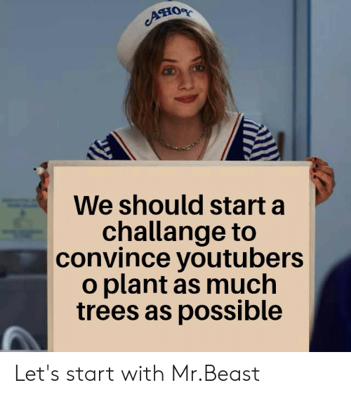 Reddit, Trees, and Beast: ATIOR  We should start a  challange to  convince youtubers  o plant as much  trees as possible Let's start with Mr.Beast